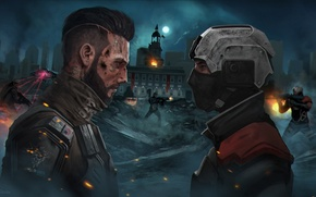 Wallpaper the opposition, art, helmet, mask, Homefront: The Revolution, soldiers