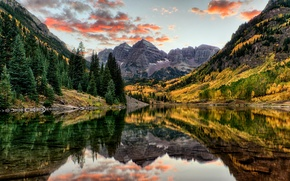 Picture autumn, forest, water, trees, mountains, lake, reflection, rocks, USA, Colorado, Maroon Bells