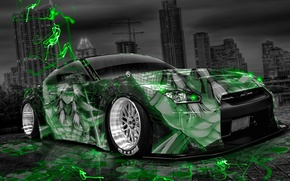 Picture Night, The city, Neon, Green, Tuning, Style, Nissan, Wallpaper, GTR, City, Nissan, Anime, Photoshop, Photoshop, …