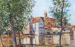 Picture the sky, bridge, the city, river, home, picture, day, Alfred Sisley