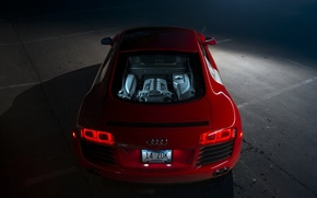 Picture Audi, Red, Supercar, Rear, Ligth, Motor