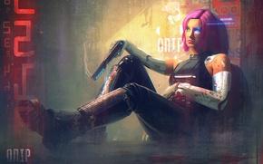 Picture girl, gun, fiction, art, cyborg, cyberpunk