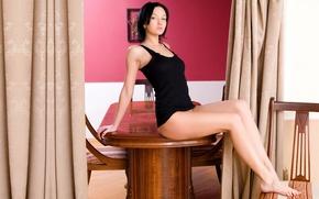 Picture girl, model, brunette, legs, Loreen A