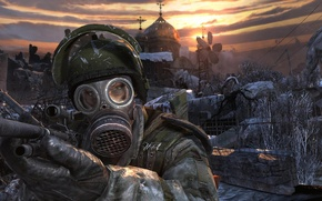 Picture Church, gas mask, metro 2033, the ruined city