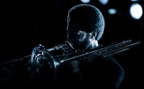 Picture night, lights, music, jazz, musician, trombone