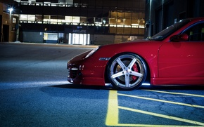 Picture Red, Auto, Night, 997, Porsche, Disk, Machine, Wheel, Sports car, Side view