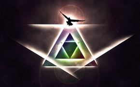 Picture space, glare, bird, eagle, triangles, glow, pyramid, rays of light
