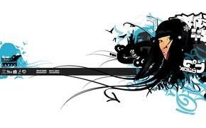 Wallpaper girl, hair, minimalism, vector