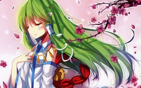 Picture branch, petals, Sakura, green hair, snake, art, touhou projeck, kazucha, Art Kochi Have Done