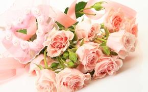 Picture flowers, heart, roses, bouquet, heart, bouquet, roses, tea