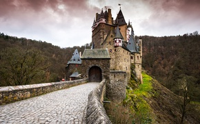 Wallpaper forest, gate, pavers, Germany, valley, tower, ELTZ castle, Rhineland-Palatinate