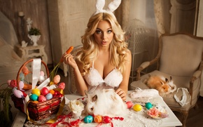 Picture chest, girl, eggs, Easter, rabbits, ears, carrots, The mavri, Marvin Alexander, Catherine Pudar