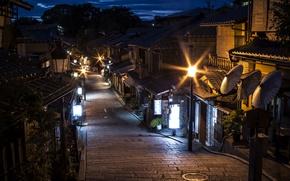 Wallpaper night, lights, home, Japan, lights, Kyoto, street