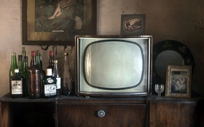 Picture TV, background, bottle