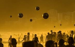Picture sea, beach, football, the game, the ball, Brazil, Rio de Janeiro, Ipanema