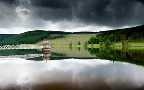 Picture forest, the sky, reflection, bridge, lake, house, gray day