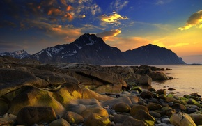 Picture sea, the sky, water, clouds, snow, landscape, sunset, mountains, nature, stones, the ocean, paint, shore, ...