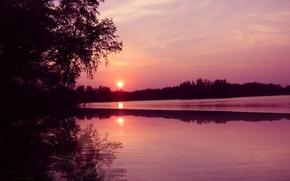 Picture forest, sunset, nature, river, sunset in september with reflection