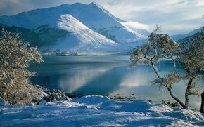 Wallpaper winter, frost, the sky, snow, trees, mountains, river
