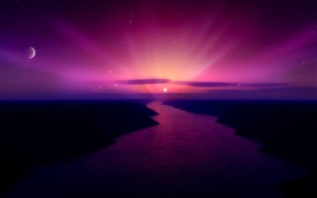 Wallpaper color, the moon, 156, the sun, river, sunset