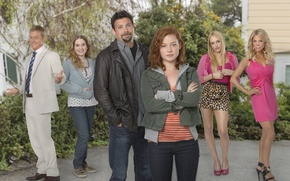 Wallpaper Movies, The suburbs, background, The series, the main actors of the series, Suburgatory, look