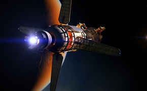 Picture space, flame, planet, stars, arrival, spacecraft
