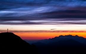 Picture clouds, snow, landscape, mountains, dawn