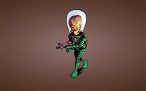 Picture weapons, skull, the suit, alien, alien, sklet, Mars Attacks!, Martian, Mars attacks!