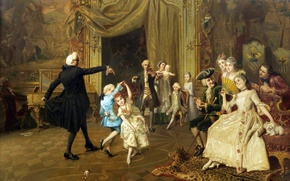 Picture picture, painting, painting, from the Old masters, dance lesson, the dance lesson