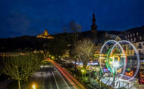 Picture road, night, excerpt, Germany, Germany, Night, Cochem, Cochem