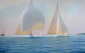 Wallpaper sea, picture, sailboats, ships, sails, Tim Thompson, the wind