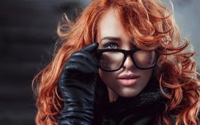 Picture portrait, glasses, redhead, Lily, George Chernyadev