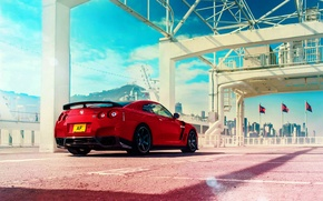 Picture Japan, Nissan, Red, GT-R, Car, Sky, R35, Sport, Rear
