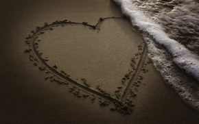 Picture sand, beach, the ocean, heart, wave, the evening