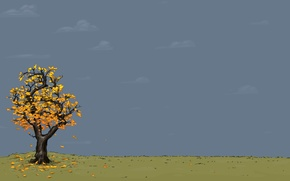 Picture tree, vector, autumn, yellow, leaves