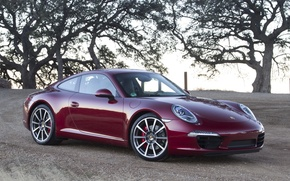 Wallpaper Burgundy, porsche, carrera s, supercar, coupe, trees, supercar, coupe, Porsche, the front, carerra with, 911, ...