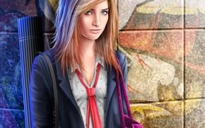 Picture girl, wall, art, form, schoolgirl, bag