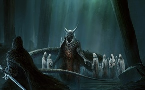 Picture forest, roots, sword, horns, demons, undead