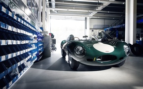 Picture green, Jaguar, Jaguar, E-Type, workshop, classic cars