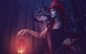 Picture wolf, little red riding hood, lantern, keys