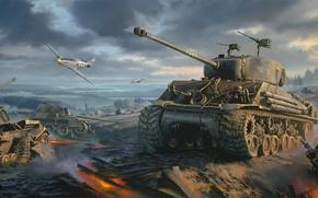 Picture war, art, painting, ww2, Movie, P-51 Mustang, Fury, Sherman tank