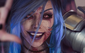 Wallpaper wallpaper, girl, blood, armor, red eyes, pretty, face, League of Legends, eye, hand, warrior, pretty ...