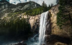 Picture Yosemite, waterfall, Vernal Falls