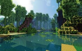 Picture forest, the sky, clouds, shore, bamboo, Bay, Minecraft