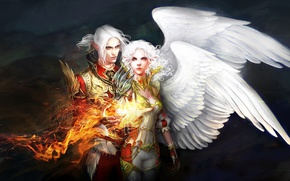 Wallpaper girl, fire, magic, wings, art, guy, anndr, Kamaels
