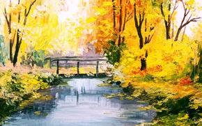 Picture forest, bridge, Park, river, seasons, paint, picture, art, painting, canvas, colorful, nature, painting, charm, autumn, …