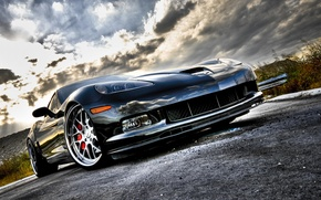Wallpaper road, corvette, chrome, chevrolet, road