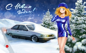 Picture girl, snow, background, Toyota, AE86, Toyota, Happy New Year, 2015, drom, Drom, Corolla Levin
