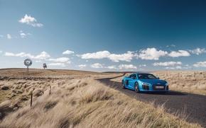 Picture road, auto, the sky, grass, blue, Audi, Audi, supercar, supercar, V10