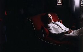 Picture white, costume, actor, red, couch, Michael Fassbender, Michael Fassbender